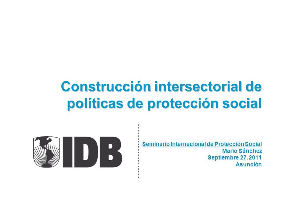 Construcción intersectorial de políticas de protección social Seminario Internacional de Protección Social Mario Sánchez Septiembre 27, 2011 Asunción