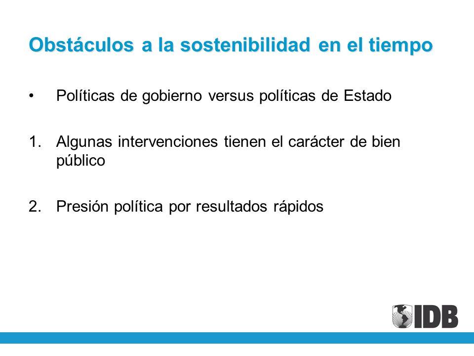 Obstáculos a la sostenibilidad en el tiempo Políticas de gobierno versus políticas de Estado 1.Algunas intervenciones tienen el carácter de bien públi