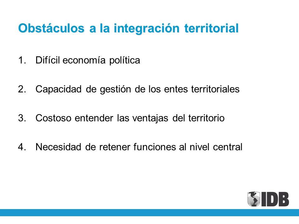 Obstáculos a la integración territorial 1.Difícil economía política 2.Capacidad de gestión de los entes territoriales 3.Costoso entender las ventajas