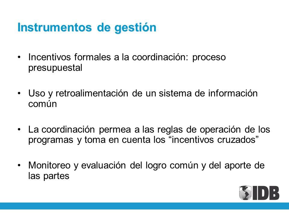 Instrumentos de gestión Incentivos formales a la coordinación: proceso presupuestal Uso y retroalimentación de un sistema de información común La coor