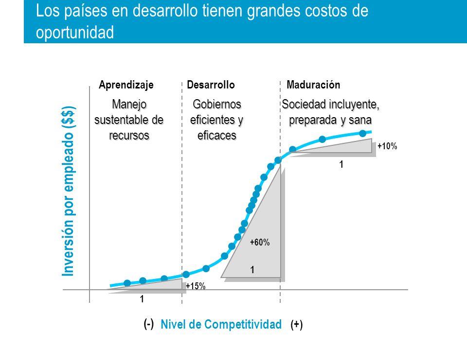 Inversión por empleado ($$) MaduraciónAprendizajeDesarrollo Nivel de Competitividad (+) (-) Manejo sustentable de recursos Gobiernos eficientes y eficaces Sociedad incluyente, preparada y sana 1 +10% 1 +60% 1 +15% Los países en desarrollo tienen grandes costos de oportunidad