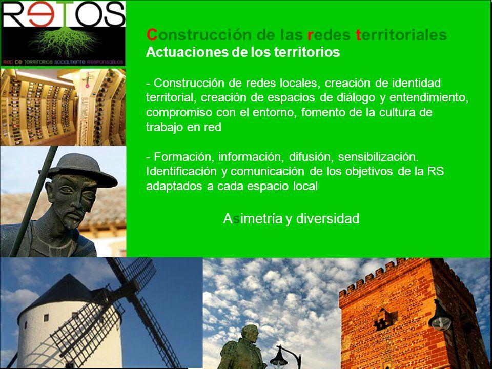 Construcción de las redes territoriales Actuaciones de los territorios - Construcción de redes locales, creación de identidad territorial, creación de espacios de diálogo y entendimiento, compromiso con el entorno, fomento de la cultura de trabajo en red - Formación, información, difusión, sensibilización.
