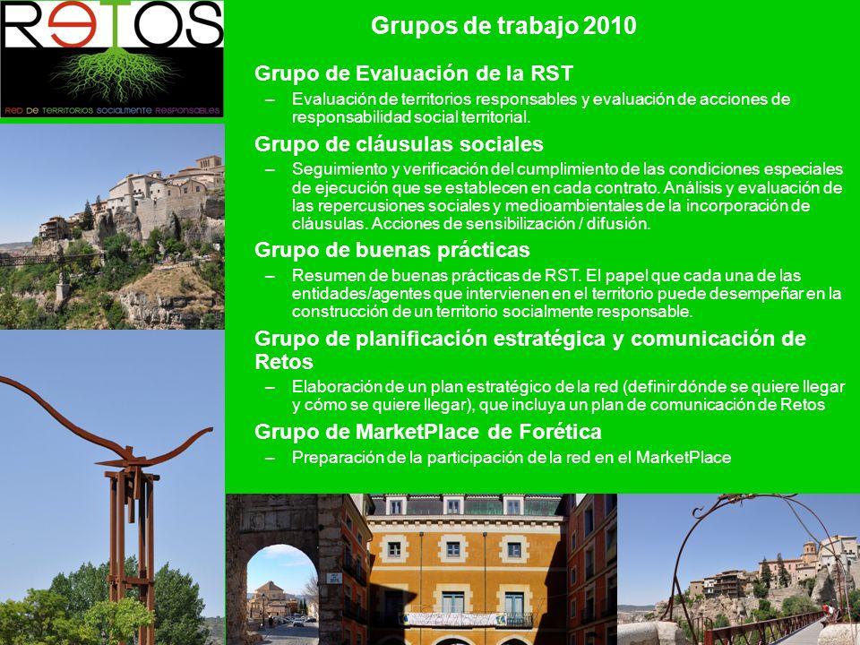 Grupos de trabajo 2010 Grupo de Evaluación de la RST –Evaluación de territorios responsables y evaluación de acciones de responsabilidad social territorial.