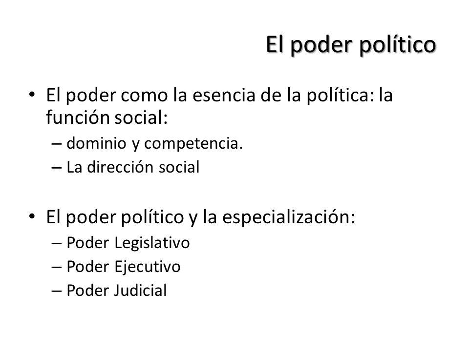 El poder político El poder como la esencia de la política: la función social: – dominio y competencia. – La dirección social El poder político y la es