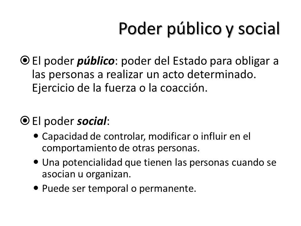 Poder público y social El poder público: poder del Estado para obligar a las personas a realizar un acto determinado. Ejercicio de la fuerza o la coac