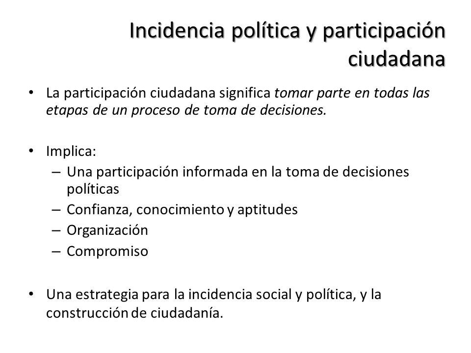 Incidencia política y participación ciudadana La participación ciudadana significa tomar parte en todas las etapas de un proceso de toma de decisiones