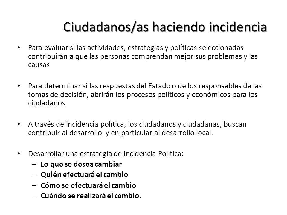 Ciudadanos/as haciendo incidencia Para evaluar si las actividades, estrategias y políticas seleccionadas contribuirán a que las personas comprendan me
