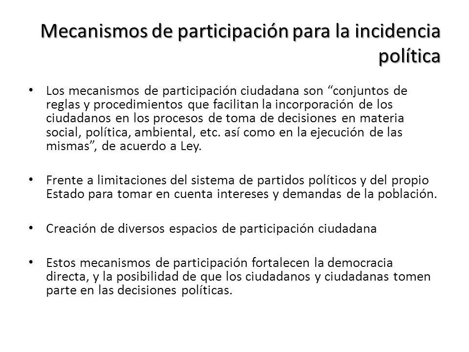 Mecanismos de participación para la incidencia política Los mecanismos de participación ciudadana son conjuntos de reglas y procedimientos que facilit
