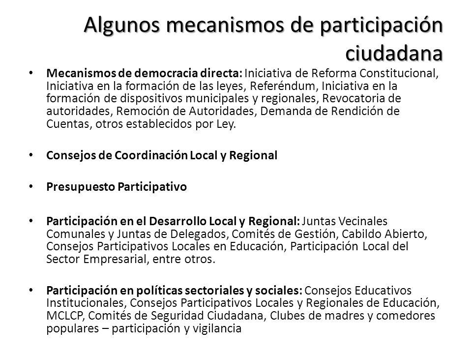 Algunos mecanismos de participación ciudadana Mecanismos de democracia directa: Iniciativa de Reforma Constitucional, Iniciativa en la formación de la