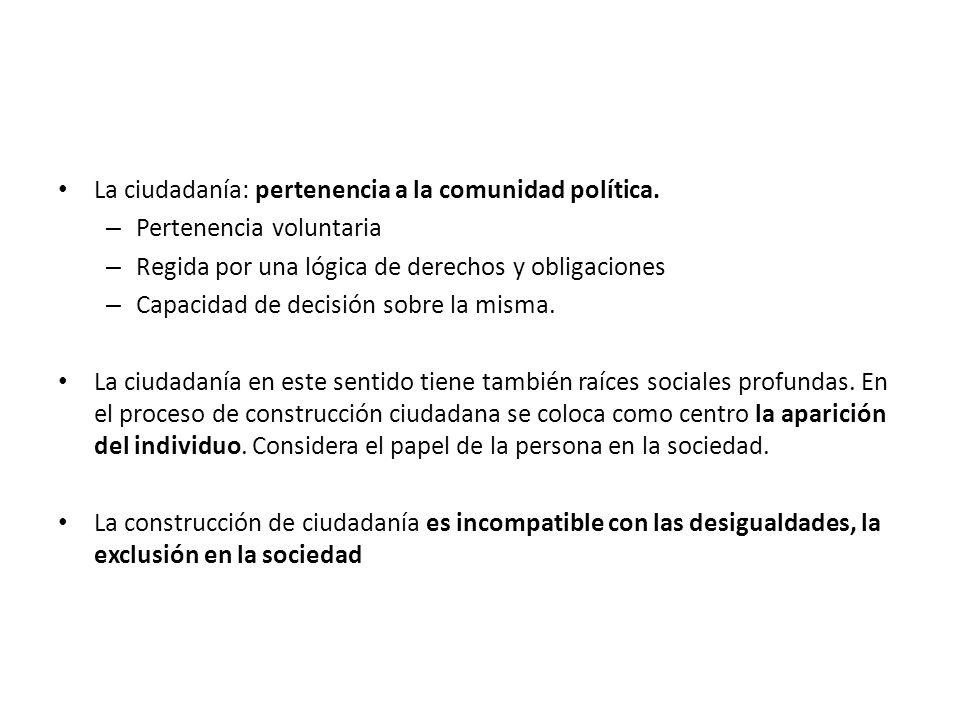 La ciudadanía: pertenencia a la comunidad política. – Pertenencia voluntaria – Regida por una lógica de derechos y obligaciones – Capacidad de decisió