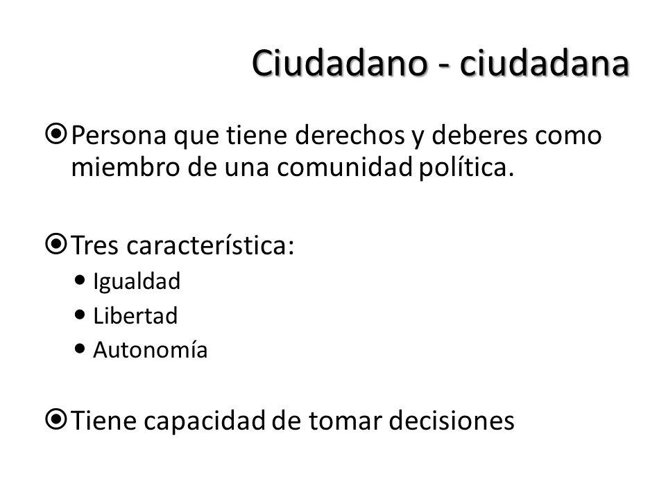 Ciudadano - ciudadana Persona que tiene derechos y deberes como miembro de una comunidad política. Tres característica: Igualdad Libertad Autonomía Ti