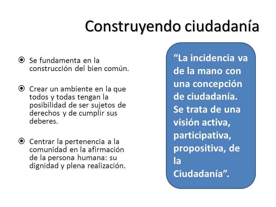Construyendo ciudadanía Se fundamenta en la construcción del bien común. Crear un ambiente en la que todos y todas tengan la posibilidad de ser sujeto