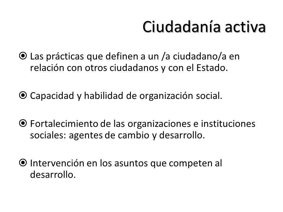Ciudadanía activa Las prácticas que definen a un /a ciudadano/a en relación con otros ciudadanos y con el Estado. Capacidad y habilidad de organizació