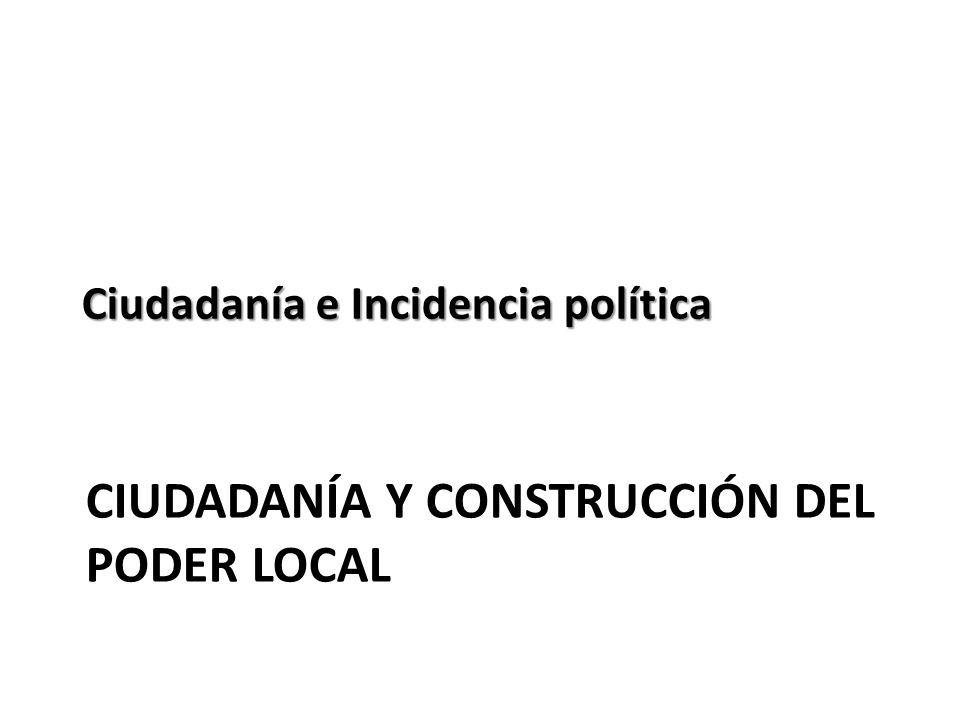 CIUDADANÍA Y CONSTRUCCIÓN DEL PODER LOCAL Ciudadanía e Incidencia política