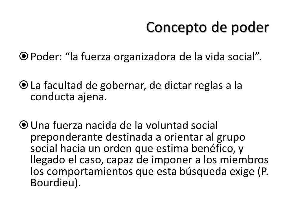 Concepto de poder Poder: la fuerza organizadora de la vida social. La facultad de gobernar, de dictar reglas a la conducta ajena. Una fuerza nacida de