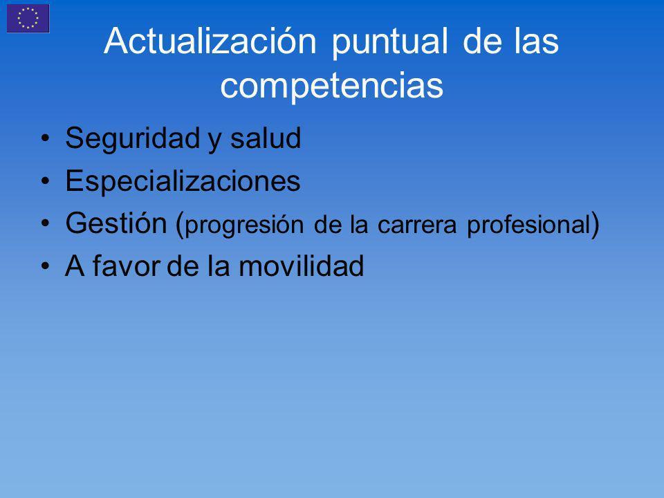 Actualización puntual de las competencias Seguridad y salud Especializaciones Gestión ( progresión de la carrera profesional ) A favor de la movilidad