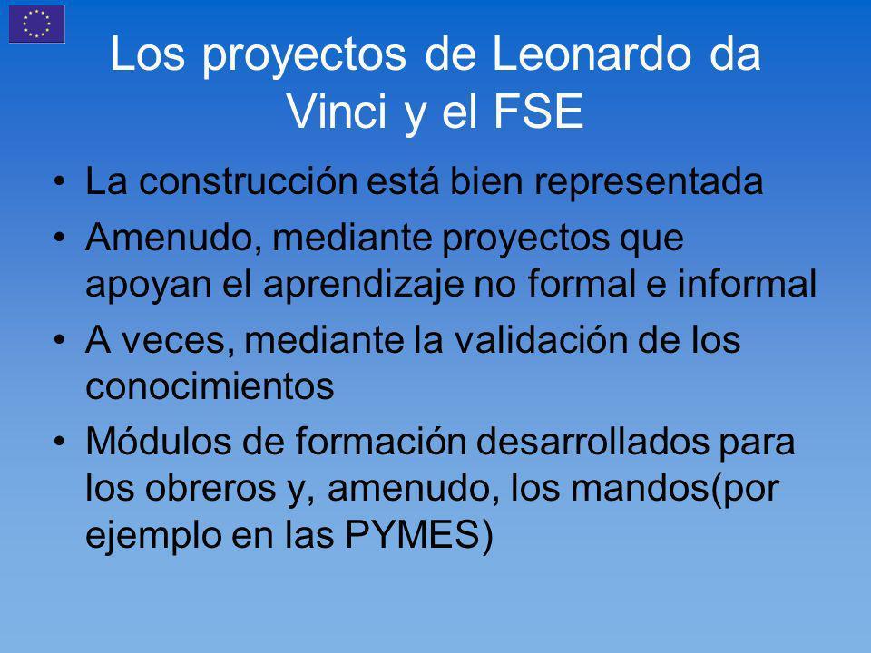 Los proyectos de Leonardo da Vinci y el FSE La construcción está bien representada Amenudo, mediante proyectos que apoyan el aprendizaje no formal e informal A veces, mediante la validación de los conocimientos Módulos de formación desarrollados para los obreros y, amenudo, los mandos(por ejemplo en las PYMES)