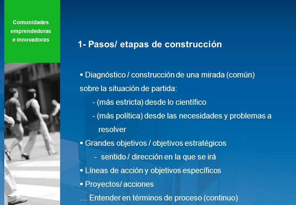 1- Pasos/ etapas de construcción Diagnóstico / construcción de una mirada (común) sobre la situación de partida: - (más estricta) desde lo científico