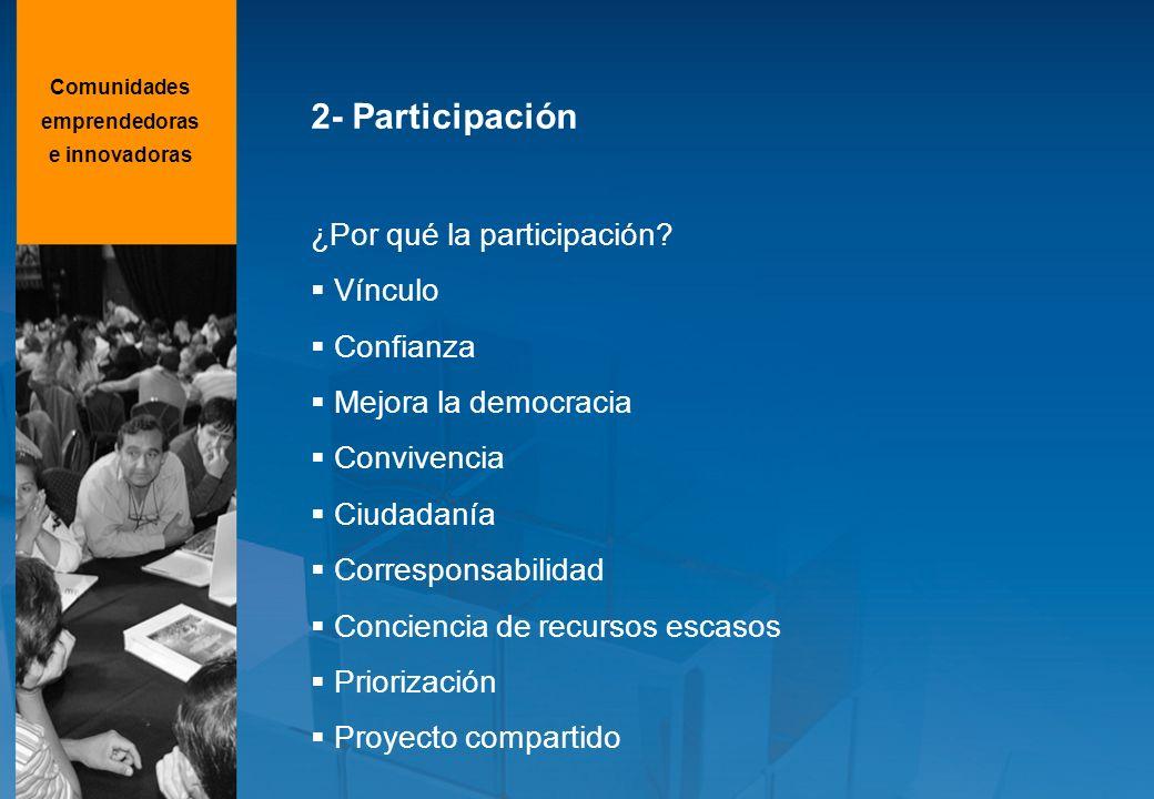 2- Participación ¿Por qué la participación? Vínculo Confianza Mejora la democracia Convivencia Ciudadanía Corresponsabilidad Conciencia de recursos es