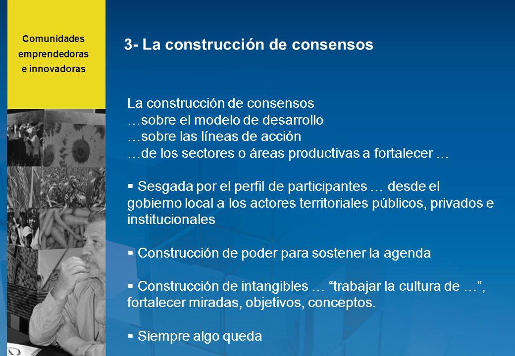 3- La construcción de consensos La construcción de consensos …sobre el modelo de desarrollo …sobre las líneas de acción …de los sectores o áreas produ