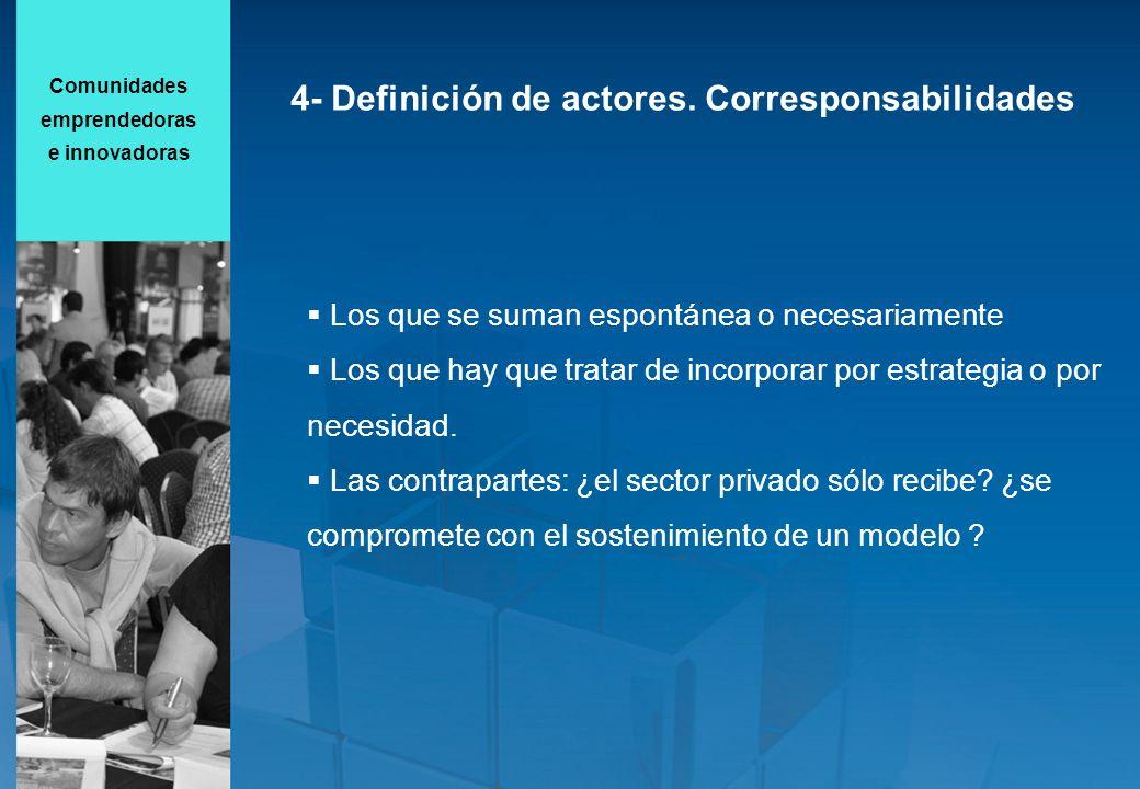 4- Definición de actores. Corresponsabilidades Los que se suman espontánea o necesariamente Los que hay que tratar de incorporar por estrategia o por