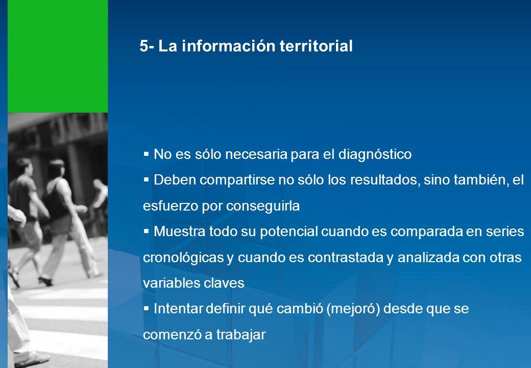 5- La información territorial No es sólo necesaria para el diagnóstico Deben compartirse no sólo los resultados, sino también, el esfuerzo por consegu