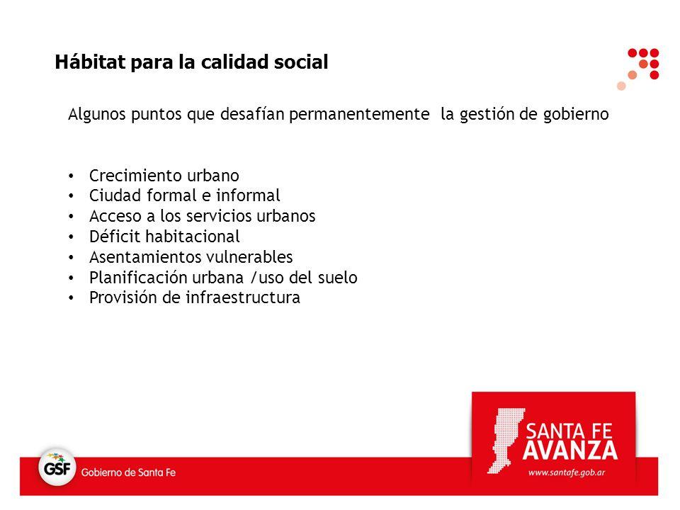 Hábitat para la calidad social Algunos puntos que desafían permanentemente la gestión de gobierno Crecimiento urbano Ciudad formal e informal Acceso a