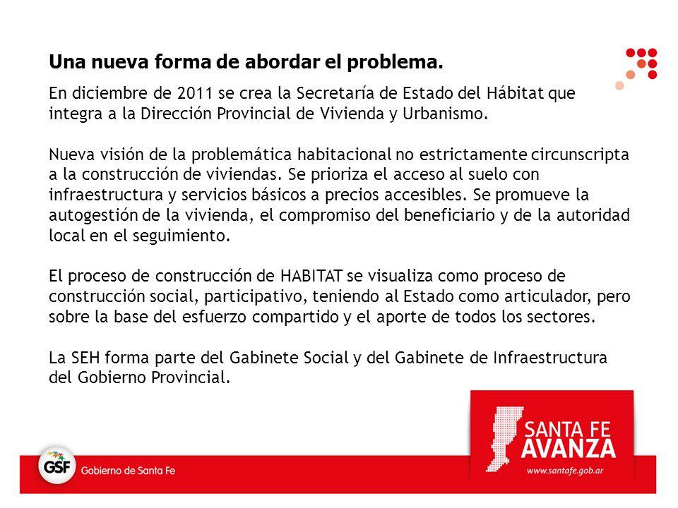 Una nueva forma de abordar el problema. En diciembre de 2011 se crea la Secretaría de Estado del Hábitat que integra a la Dirección Provincial de Vivi