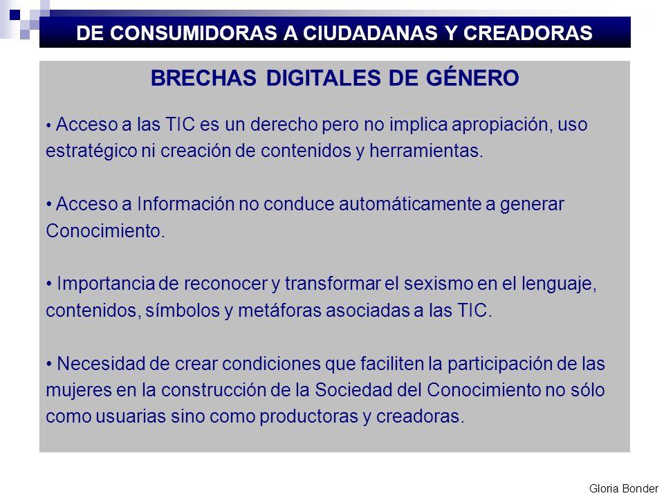 BRECHAS DIGITALES DE GÉNERO Acceso a las TIC es un derecho pero no implica apropiación, uso estratégico ni creación de contenidos y herramientas. Acce