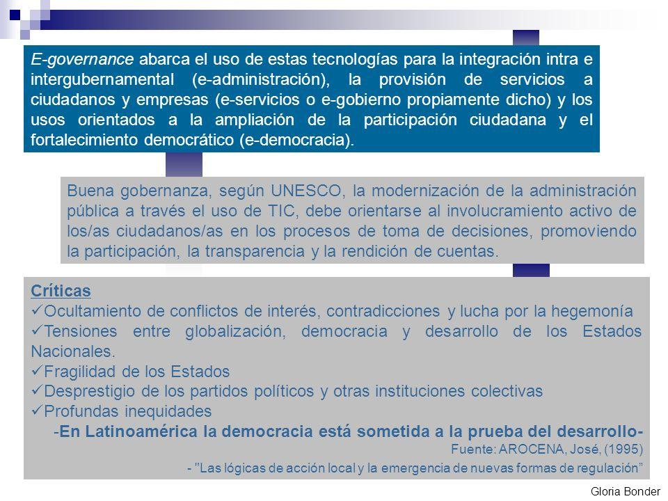eGovernance o Gobernabilidad Electrónica: construcción de capacidades institucionales y establecimiento de canales para la vinculación entre el estado y los ciudadanos, éstos entre sí y otros actores como las empresas.