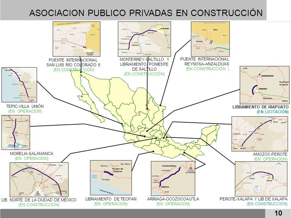 MORELIA-SALAMANCA (EN OPERACION) AMOZOC-PEROTE (EN OPERACION) MONTERREY-SALTILLO Y LIBRAMIENTO PONIENTE DE SALTILLO (EN CONSTRUCCIÓN) TEPIC-VILLA UNIÓ