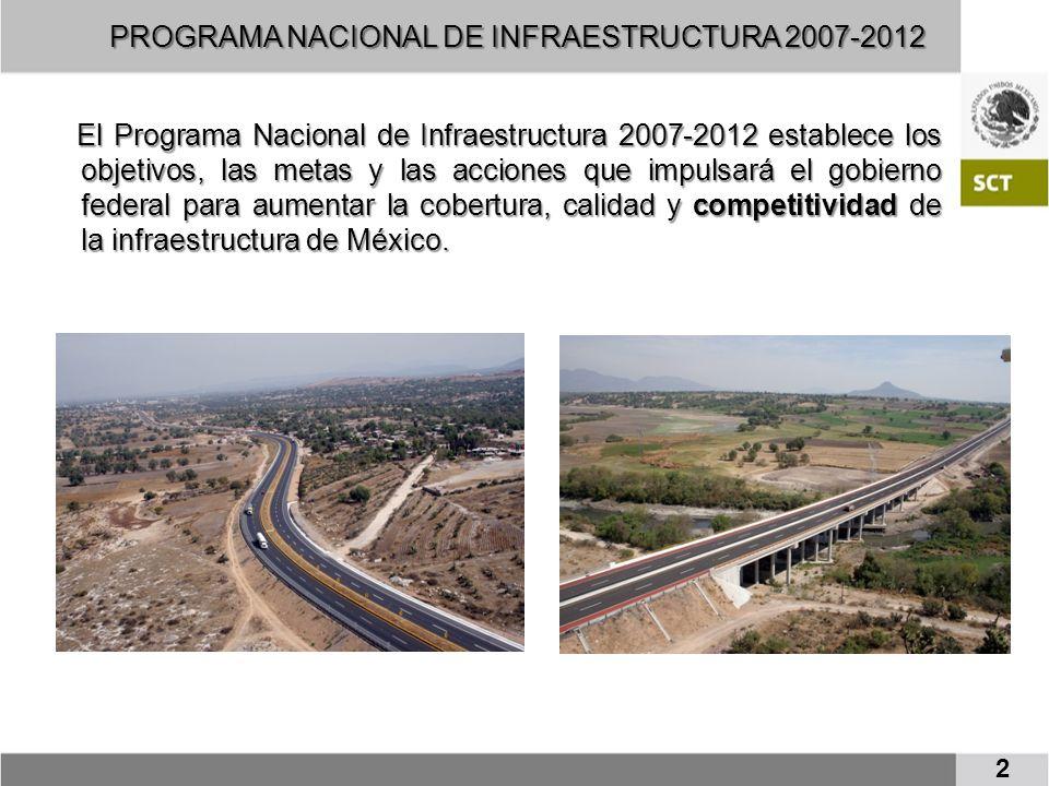 El Programa Nacional de Infraestructura 2007-2012 establece los objetivos, las metas y las acciones que impulsará el gobierno federal para aumentar la cobertura, calidad y competitividad de la infraestructura de México.