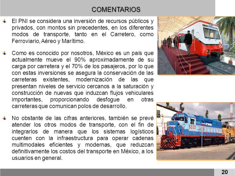 COMENTARIOS 20 El PNI se considera una inversión de recursos públicos y privados, con montos sin precedentes, en los diferentes modos de transporte, tanto en el Carretero, como Ferroviario, Aéreo y Marítimo.