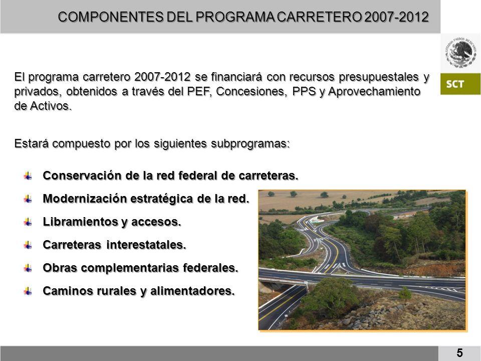 COMPONENTES DEL PROGRAMA CARRETERO 2007-2012 El programa carretero 2007-2012 se financiará con recursos presupuestales y privados, obtenidos a través del PEF, Concesiones, PPS y Aprovechamiento de Activos.