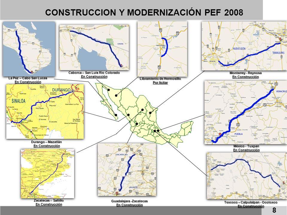 CONSTRUCCION Y MODERNIZACIÓN PEF 2008 La Paz – Cabo San Lucas En Construcción Libramiento de Hermosillo Por licitar Caborca – San Luis Río Colorado En