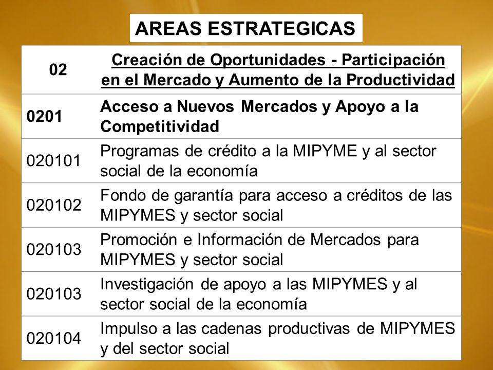 02 Creación de Oportunidades - Participación en el Mercado y Aumento de la Productividad 0201 Acceso a Nuevos Mercados y Apoyo a la Competitividad 020101 Programas de crédito a la MIPYME y al sector social de la economía 020102 Fondo de garantía para acceso a créditos de las MIPYMES y sector social 020103 Promoción e Información de Mercados para MIPYMES y sector social 020103 Investigación de apoyo a las MIPYMES y al sector social de la economía 020104 Impulso a las cadenas productivas de MIPYMES y del sector social AREAS ESTRATEGICAS