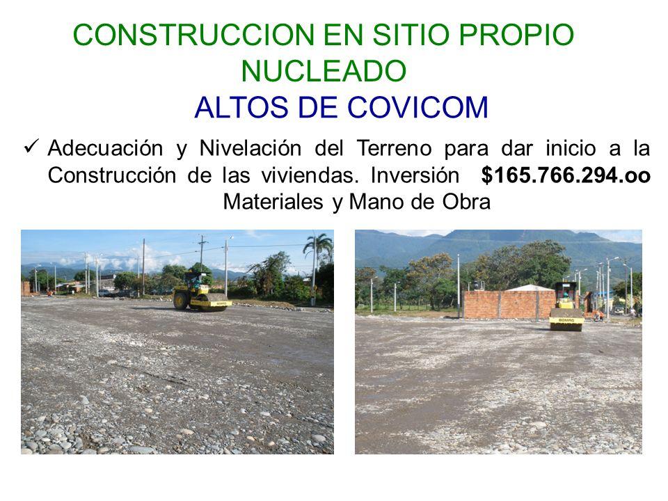 ALTOS DE COVICOM Adecuación y Nivelación del Terreno para dar inicio a la Construcción de las viviendas.