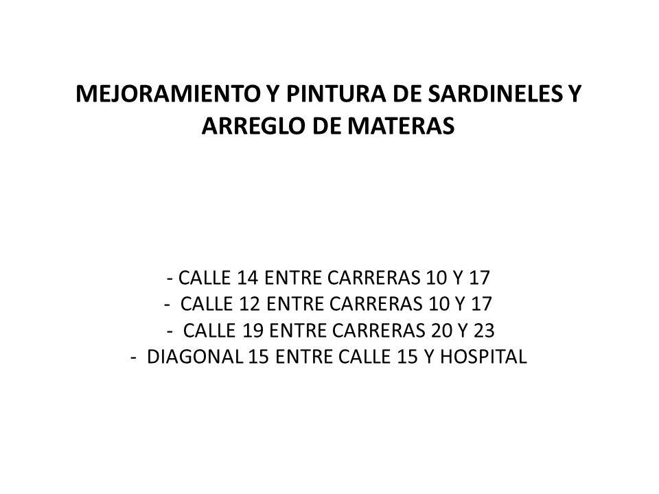 MEJORAMIENTO Y PINTURA DE SARDINELES Y ARREGLO DE MATERAS - CALLE 14 ENTRE CARRERAS 10 Y 17 - CALLE 12 ENTRE CARRERAS 10 Y 17 - CALLE 19 ENTRE CARRERAS 20 Y 23 - DIAGONAL 15 ENTRE CALLE 15 Y HOSPITAL