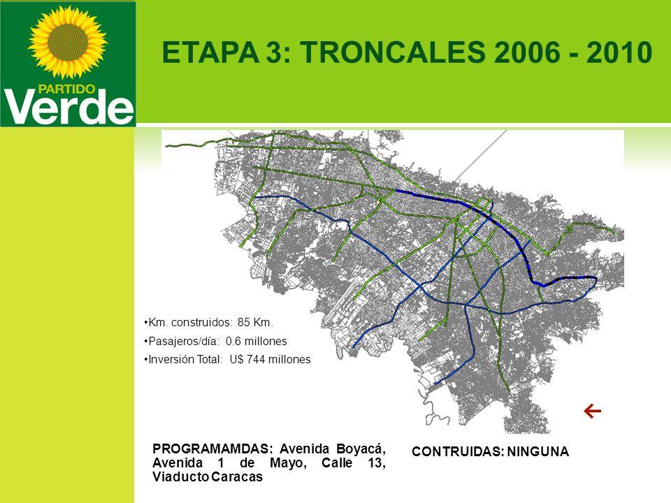 ETAPA 3: TRONCALES 2006 - 2010 PROGRAMAMDAS: Avenida Boyacá, Avenida 1 de Mayo, Calle 13, Viaducto Caracas Km. construidos: 85 Km. Pasajeros/día: 0.6
