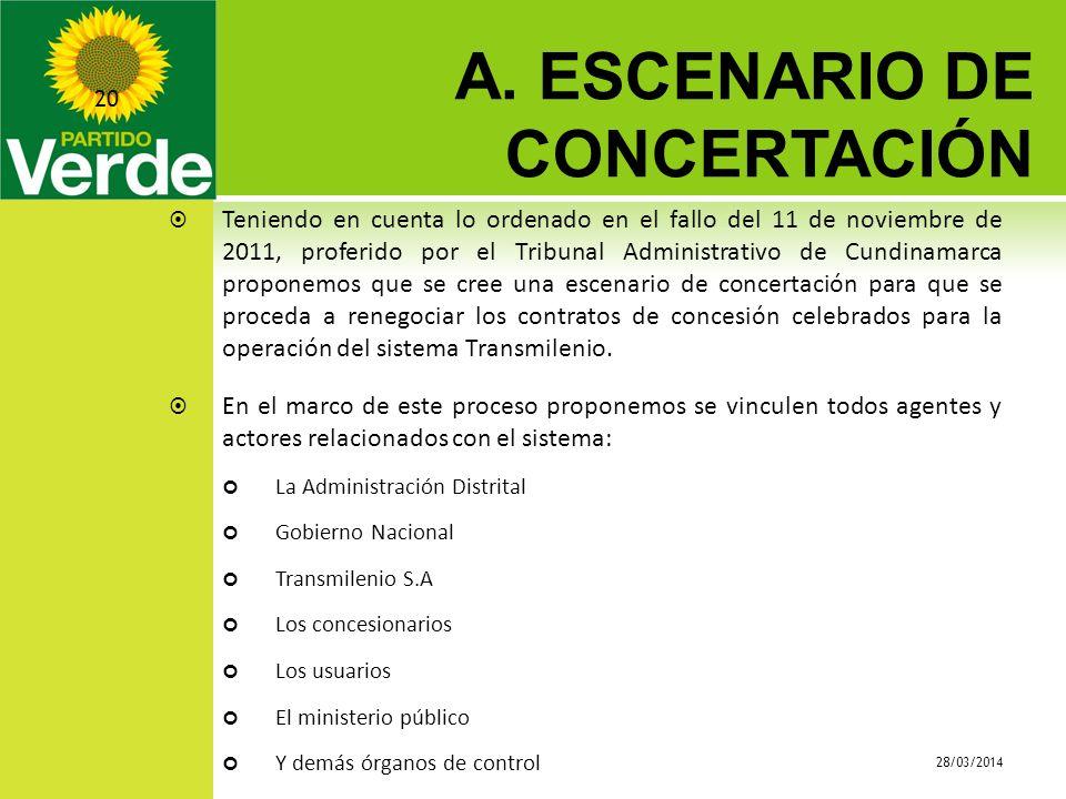 A. ESCENARIO DE CONCERTACIÓN 28/03/2014 20 Teniendo en cuenta lo ordenado en el fallo del 11 de noviembre de 2011, proferido por el Tribunal Administr
