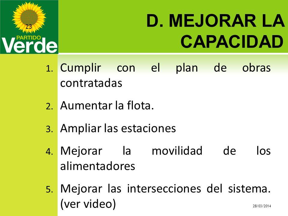 D. MEJORAR LA CAPACIDAD 28/03/2014 23 1. Cumplir con el plan de obras contratadas 2. Aumentar la flota. 3. Ampliar las estaciones 4. Mejorar la movili