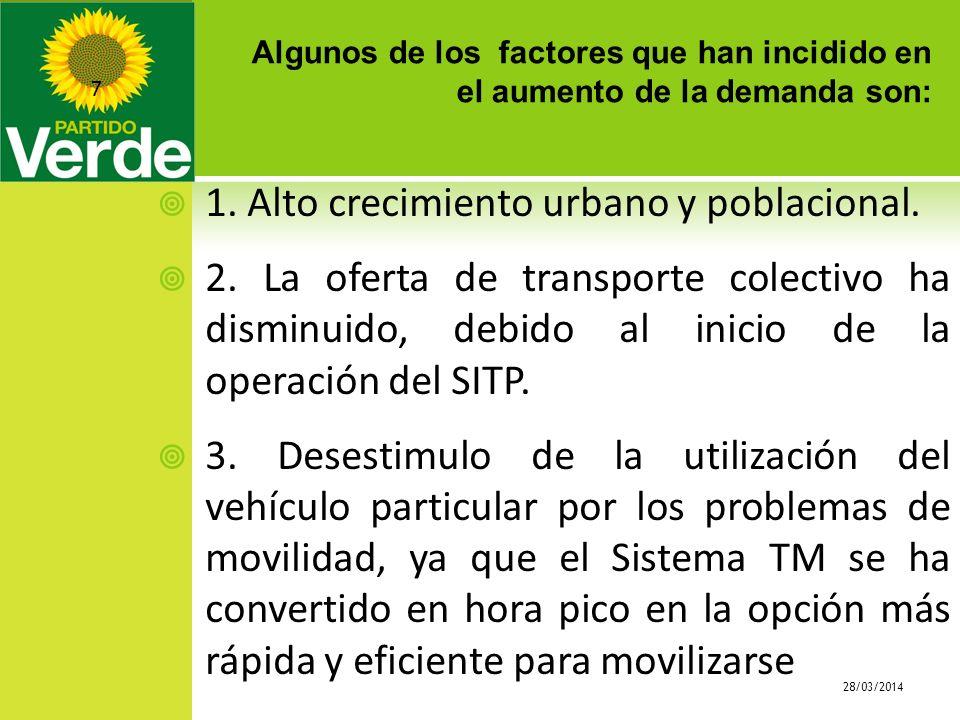 Algunos de los factores que han incidido en el aumento de la demanda son: 28/03/2014 7 1. Alto crecimiento urbano y poblacional. 2. La oferta de trans