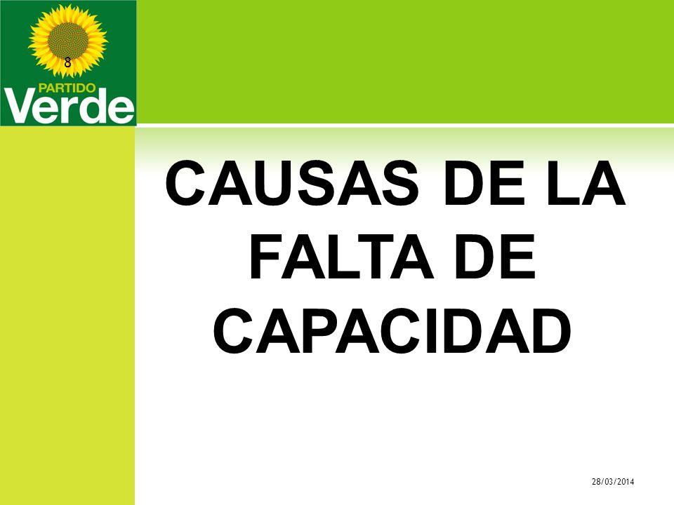 CAUSAS DE LA FALTA DE CAPACIDAD 28/03/2014 8