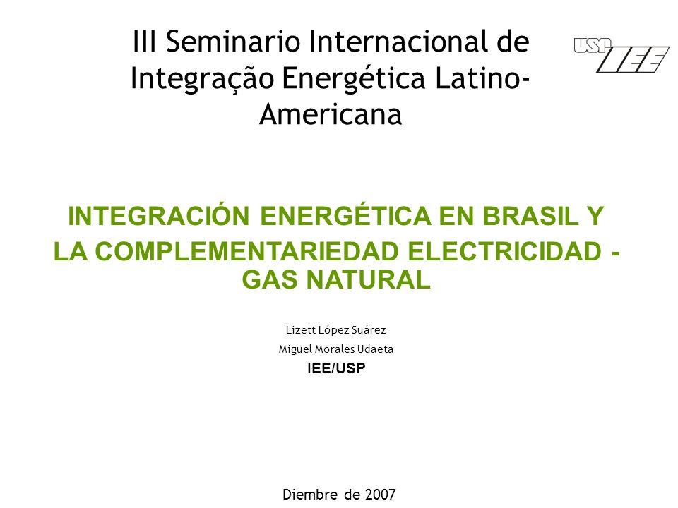 III Seminario Internacional de Integração Energética Latino- Americana Diembre de 2007 INTEGRACIÓN ENERGÉTICA EN BRASIL Y LA COMPLEMENTARIEDAD ELECTRICIDAD - GAS NATURAL Lizett López Suárez Miguel Morales Udaeta IEE/USP