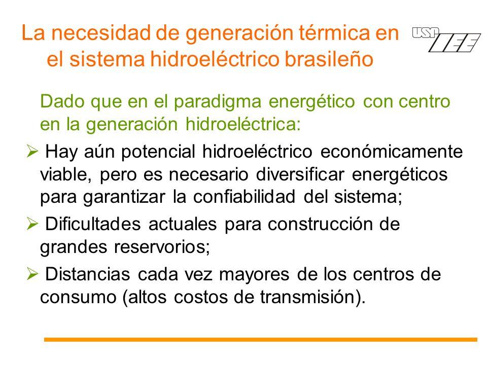 La necesidad de generación térmica en el sistema hidroeléctrico brasileño Dado que en el paradigma energético con centro en la generación hidroeléctrica: Hay aún potencial hidroeléctrico económicamente viable, pero es necesario diversificar energéticos para garantizar la confiabilidad del sistema; Dificultades actuales para construcción de grandes reservorios; Distancias cada vez mayores de los centros de consumo (altos costos de transmisión).