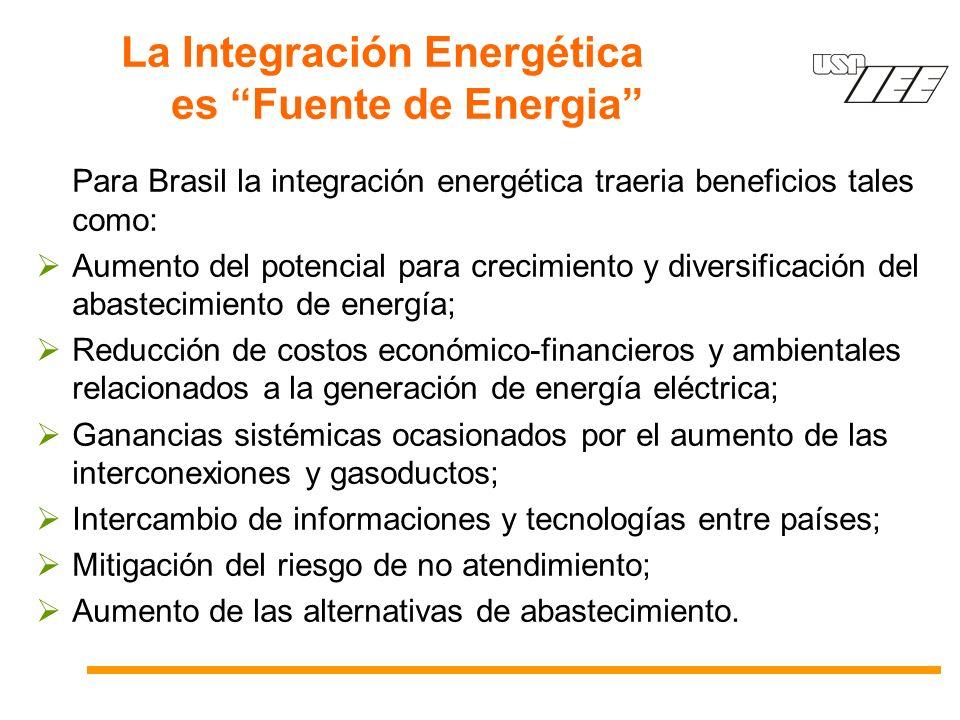 La Integración Energética es Fuente de Energia Para Brasil la integración energética traeria beneficios tales como: Aumento del potencial para crecimiento y diversificación del abastecimiento de energía; Reducción de costos económico-financieros y ambientales relacionados a la generación de energía eléctrica; Ganancias sistémicas ocasionados por el aumento de las interconexiones y gasoductos; Intercambio de informaciones y tecnologías entre países; Mitigación del riesgo de no atendimiento; Aumento de las alternativas de abastecimiento.
