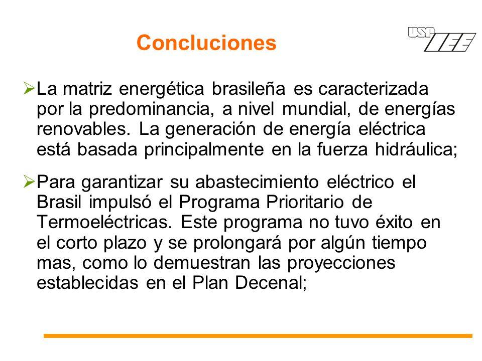 Concluciones La matriz energética brasileña es caracterizada por la predominancia, a nivel mundial, de energías renovables. La generación de energía e