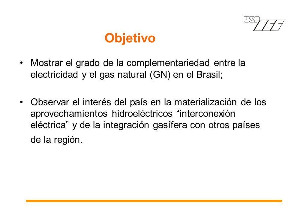 Mostrar el grado de la complementariedad entre la electricidad y el gas natural (GN) en el Brasil; Observar el interés del país en la materialización