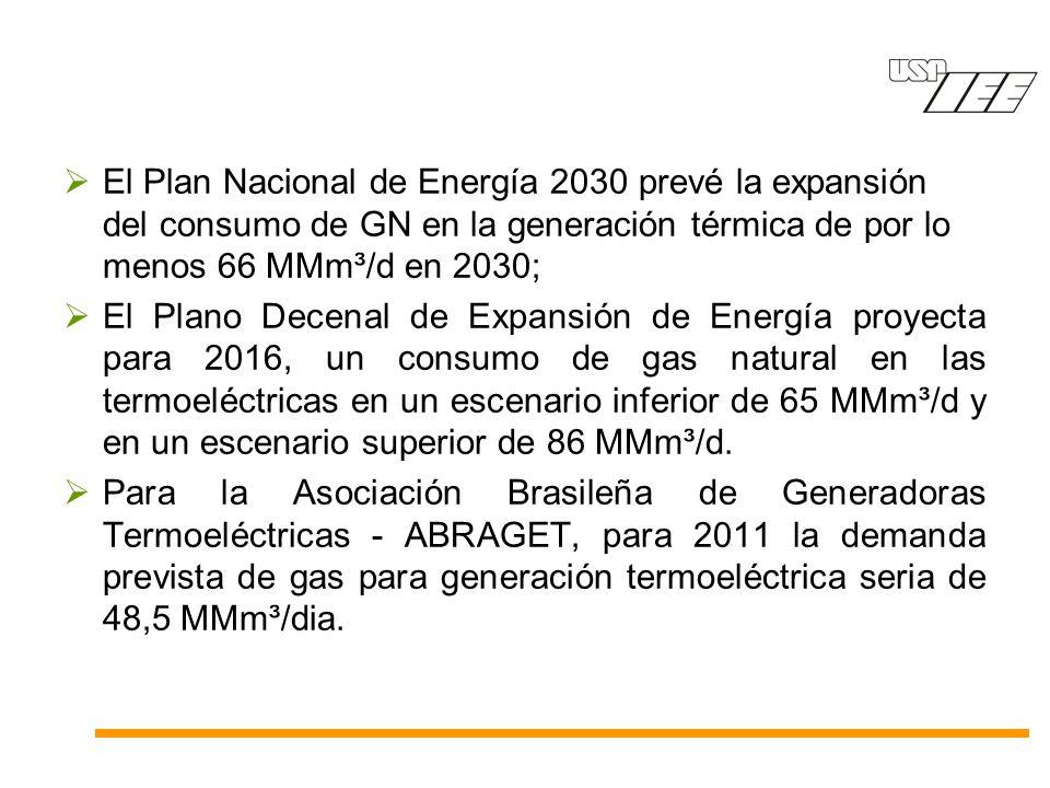 El Plan Nacional de Energía 2030 prevé la expansión del consumo de GN en la generación térmica de por lo menos 66 MMm³/d en 2030; El Plano Decenal de Expansión de Energía proyecta para 2016, un consumo de gas natural en las termoeléctricas en un escenario inferior de 65 MMm³/d y en un escenario superior de 86 MMm³/d.