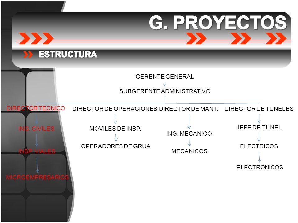 GERENTE GENERAL SUBGERENTE ADMINISTRATIVO DIRECTOR TECNICO DIRECTOR DE OPERACIONESDIRECTOR DE MANT.DIRECTOR DE TUNELES JEFE DE TUNEL ELECTRICOS MECANI